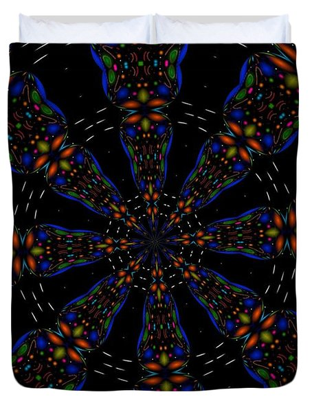 Duvet Cover featuring the digital art Space Flower by Alec Drake