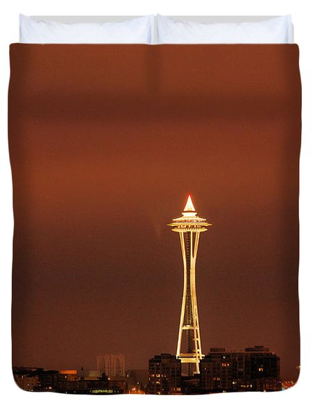 Space Needle Morning Duvet Cover