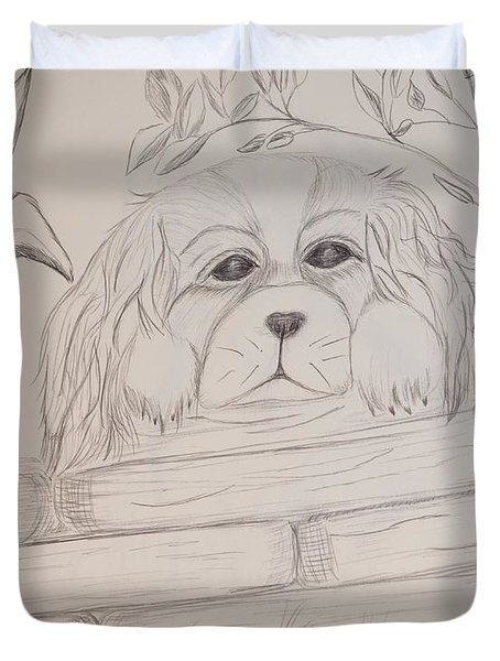 Duvet Cover featuring the drawing Spaniel Pup by Maria Urso