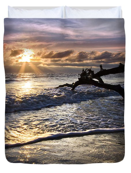 Sparkly Water At Driftwood Beach Duvet Cover by Debra and Dave Vanderlaan