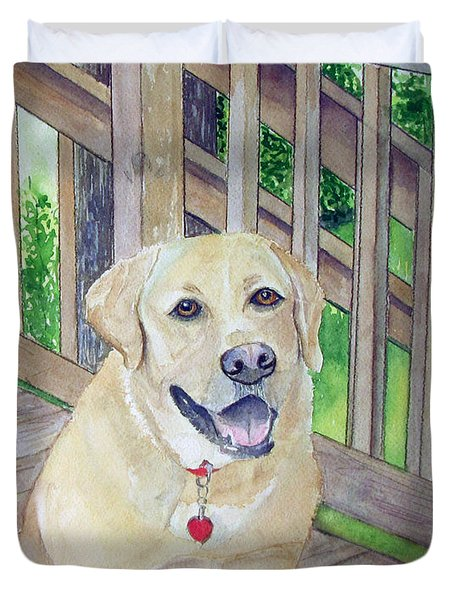 Duvet Cover featuring the painting Spencer On Porch by Carol Flagg