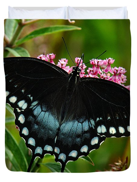 Duvet Cover featuring the photograph Spicebush Swallowtail Din038 by Gerry Gantt