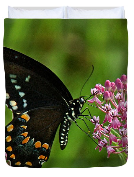 Duvet Cover featuring the photograph Spicebush Swallowtail Din039 by Gerry Gantt