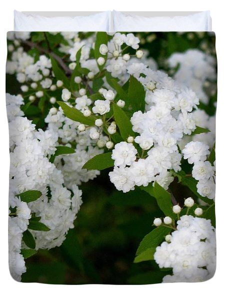 Spirea Blooms Duvet Cover by Maria Urso