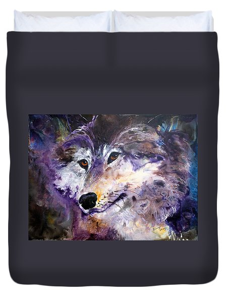 Spirit Wolf Duvet Cover by Sherry Shipley