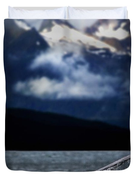 Splash From Tail Of Humpback Whale Duvet Cover by Richard Wear