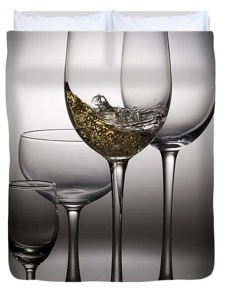 Splashing Wine In Wine Glasses Duvet Cover by Setsiri Silapasuwanchai
