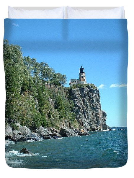Duvet Cover featuring the photograph Split Rock by Bonfire Photography