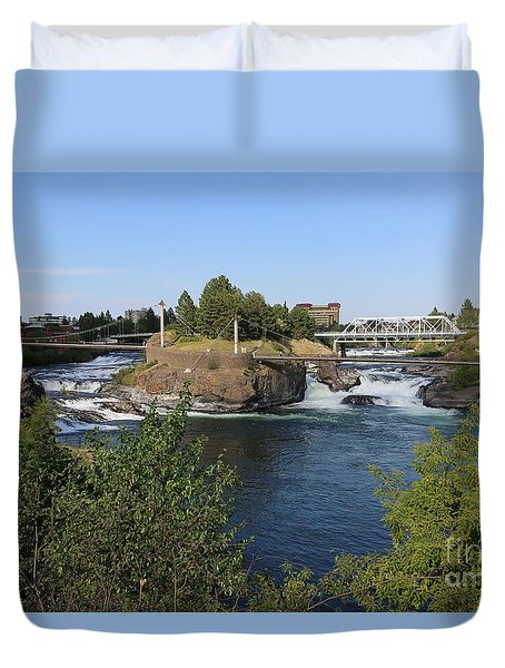 Spokane Falls Hdr Duvet Cover by Carol Groenen