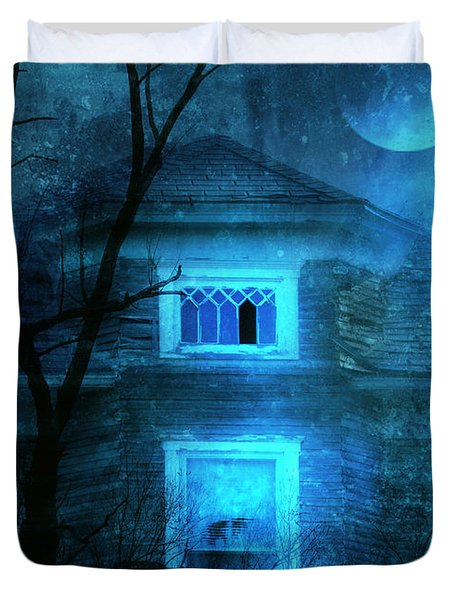Spooky House With Moon Duvet Cover by Jill Battaglia