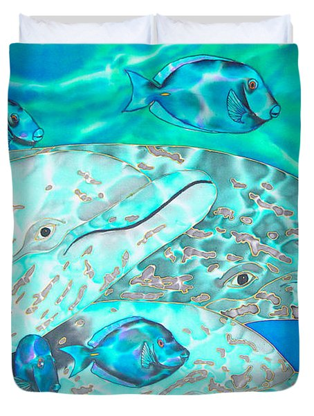 Spotted Dolphins And Blue Tang Duvet Cover by Daniel Jean-Baptiste