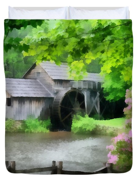 Spring At Mabry Mill Duvet Cover by Lynne Jenkins
