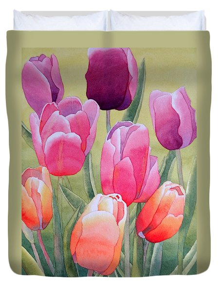 Duvet Cover featuring the painting Spring by Laurel Best