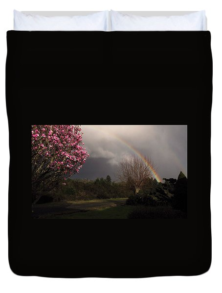 Duvet Cover featuring the photograph Spring Rainbow by Katie Wing Vigil
