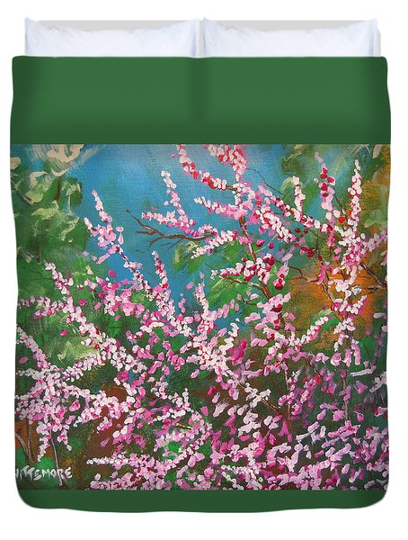 Duvet Cover featuring the painting Springs Blossoms  by Dan Whittemore