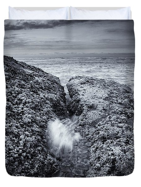 Squeezing Through Every Crack Duvet Cover by Mike  Dawson