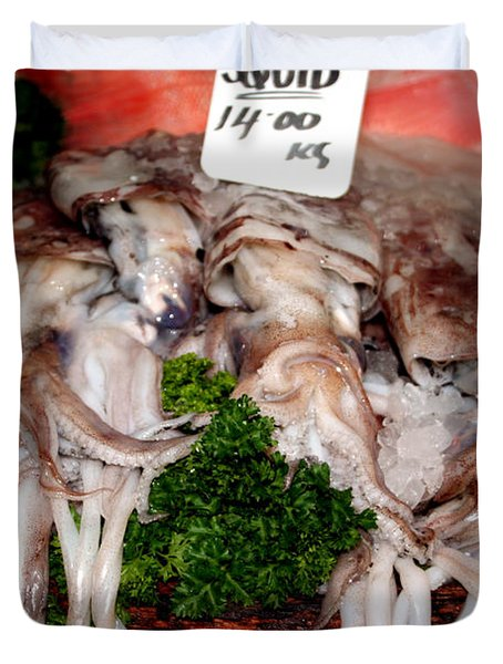 Squid For Sale Duvet Cover by Heather Applegate