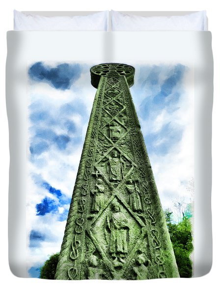 Duvet Cover featuring the photograph St Augustines Cross Close Up by Steve Taylor