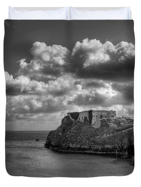 St Catherines Rock Tenby Duvet Cover by Steve Purnell