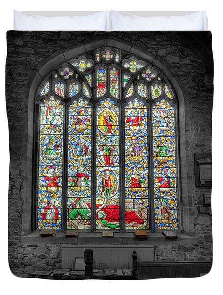 St Dyfnog Window Duvet Cover by Adrian Evans