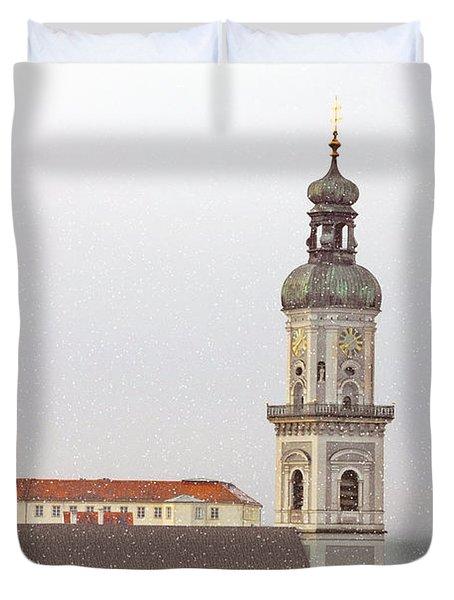 St. George In Snow - Freising Bavaria Germany Duvet Cover by Christine Till