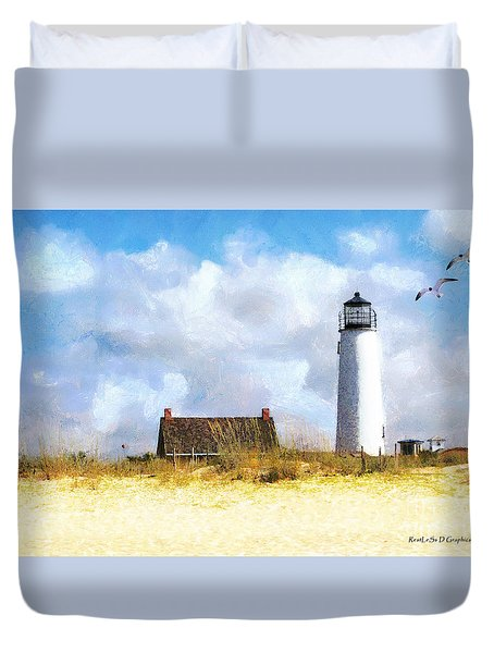 Duvet Cover featuring the photograph St. George Island Lighthouse by Rhonda Strickland