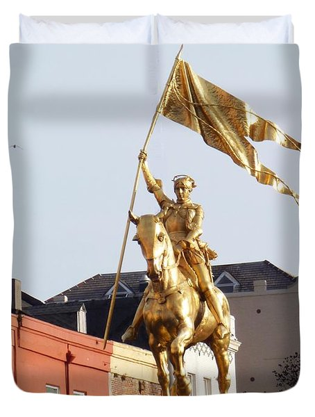 Duvet Cover featuring the photograph St. Joan At Dawn by Alys Caviness-Gober