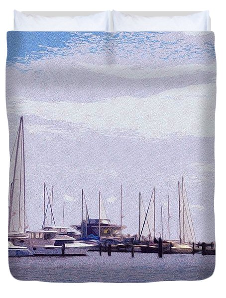 St. Petersburg Marina Duvet Cover by Bill Cannon