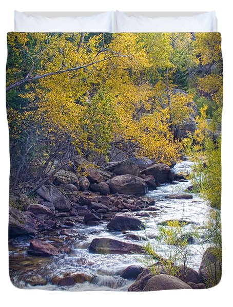 St Vrain Canyon And River Autumn Season Boulder County Colorado Duvet Cover
