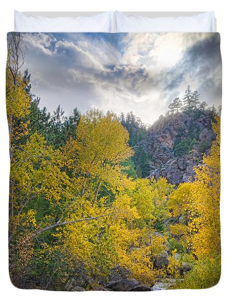 St Vrain Canyon Autumn Colorado View Duvet Cover