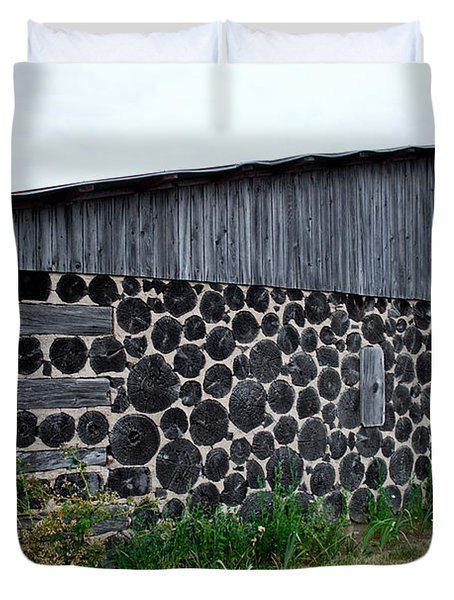 Duvet Cover featuring the photograph Stacked Block Barn by Barbara McMahon