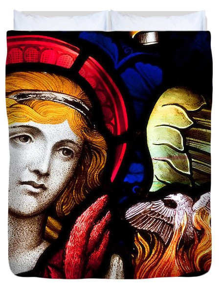 Duvet Cover featuring the photograph Stained Glass Angel by Verena Matthew