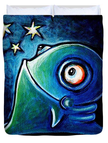 Star Gazin' Glob Duvet Cover by Leanne Wilkes