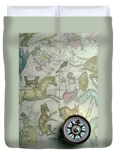 Star Map And Compass Duvet Cover by Garry Gay