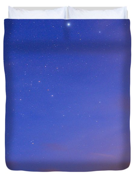 Star Sirius Over National Park Sierra Nevada At Sunset. Constelation Canis Mayor Duvet Cover by Guido Montanes Castillo