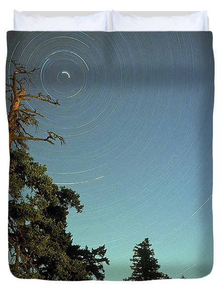 Star Trails, North Star And Old Douglas Duvet Cover by David Nunuk