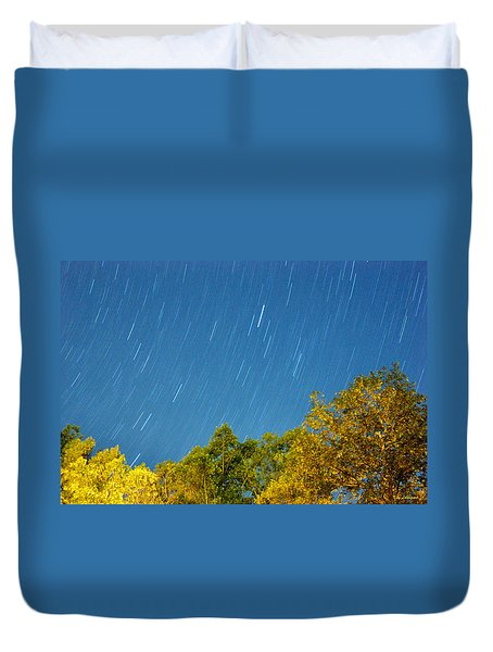 Star Trails On A Blue Sky Duvet Cover by Kay Lovingood