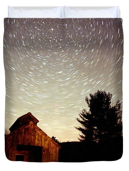 Star Trails Over Sugar Shack Duvet Cover by Rick Frost