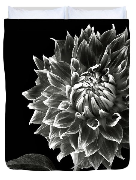 Duvet Cover featuring the photograph Starburst Dahlia In Black And White by Endre Balogh