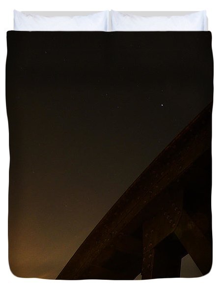 Duvet Cover featuring the photograph Starry Night On Sunset Bridge by Andy Prendy
