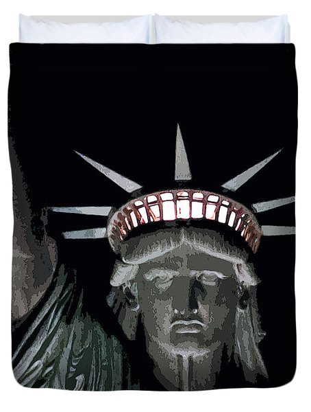 Statue Of Liberty Poster Duvet Cover by David Pringle