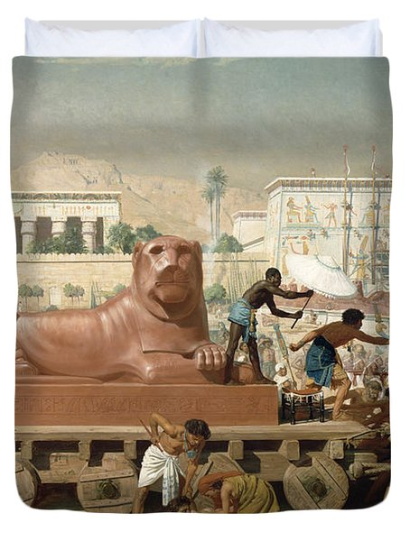 Statue Of Sekhmet Being Transported  Detail Of Israel In Egypt Duvet Cover
