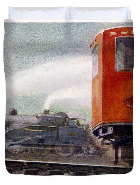 Steam Trains Versus Electric Duvet Cover by Mary Evans and Photo Researchers