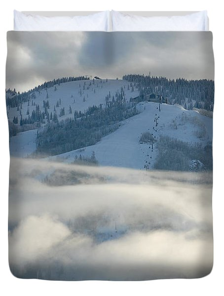Duvet Cover featuring the photograph Steamboat Ski Area In Clouds by Don Schwartz