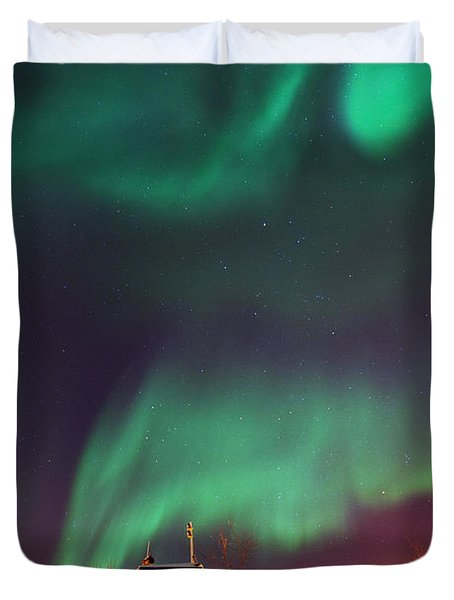 Steamboat Under Northern Lights Duvet Cover by Priska Wettstein