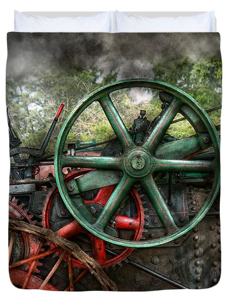 Steampunk - Machine - Transportation Of The Future Duvet Cover by Mike Savad