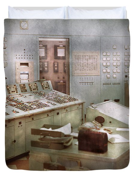 Steampunk - Retro - The Power Station Duvet Cover by Mike Savad
