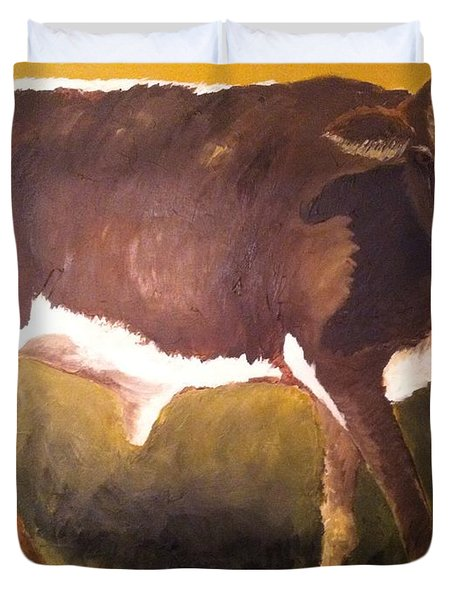 Duvet Cover featuring the painting Steer Calf by Vonda Lawson-Rosa