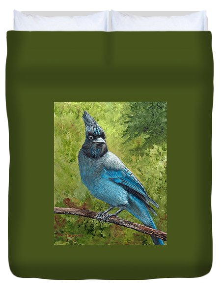 Stellar Jay Duvet Cover by Dee Carpenter