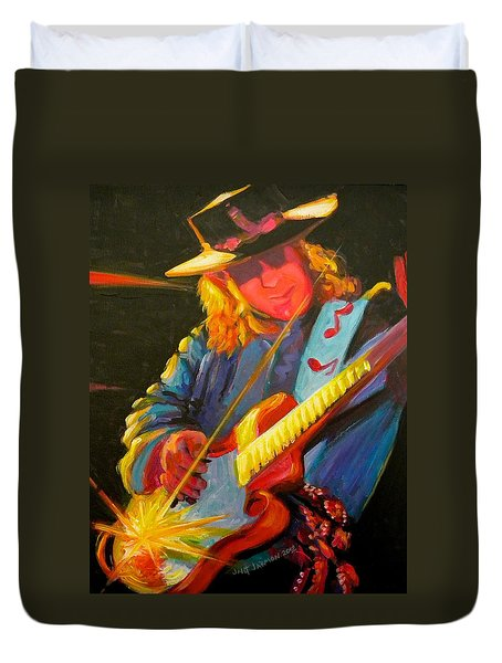 Stevie Ray Vaughn Duvet Cover by Jeanette Jarmon